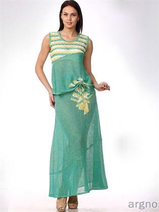 Женский льняной костюм (юбка, топ)
