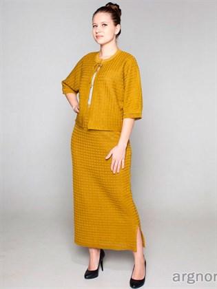 Длинная льняная юбка (олива)