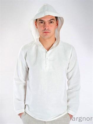 Льняная рубашка с капюшоном