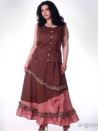 Пышная льняная юбка с оборками