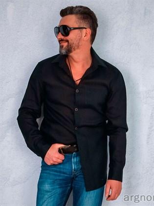 Черная мужская рубашка изо льна