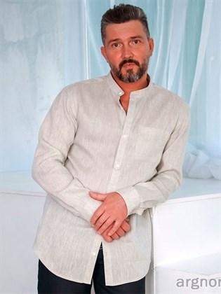 Мужская сорочка из льна с воротником-стойка