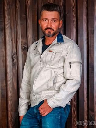 Льняная мужская куртка на молнии