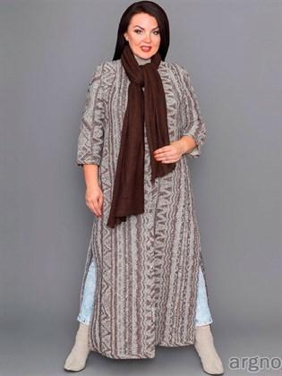 Длинное пальто из льняной ткани с разрезами