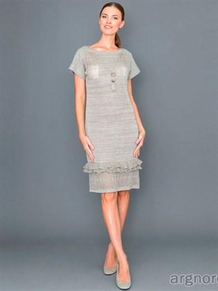 Платье с рюшами и вырезом-лодочка