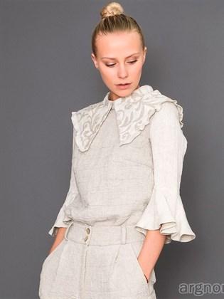 Льняная блуза стеганная
