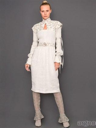 Дизайнерское платье с поясом (лен)