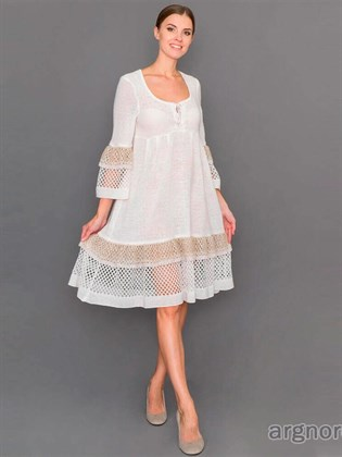 Платье изо льна с ажурной вязкой