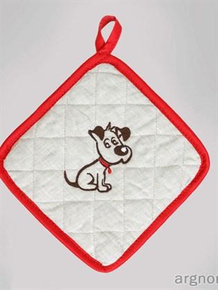 Прихватка с вышивкой собака