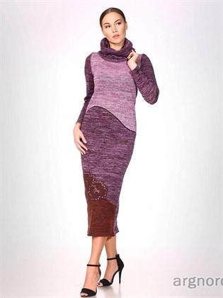 Длинное вязаное платье (меланж)