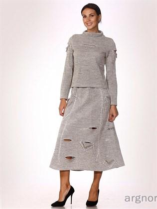 Льняная юбка с прорезями