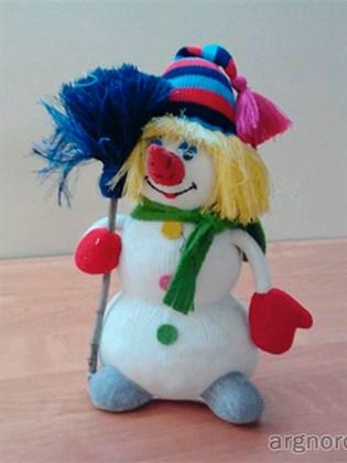 Снеговик игрушка из льна