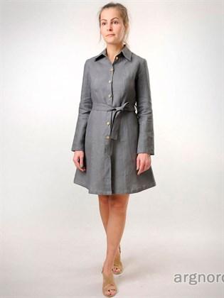 Льняное платье с застежкой на пуговицах