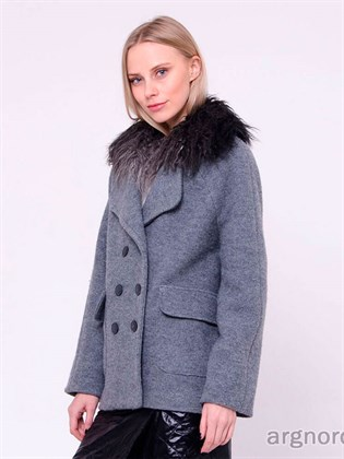 Пальто укороченное с меховым воротником