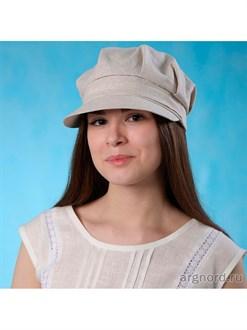 Женская кепка со складками из льна