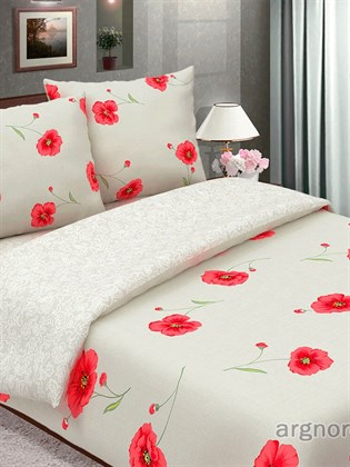 Комплект постельного белья из льна Семейный - Маки