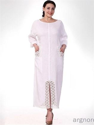 Белое платье из вареного льна