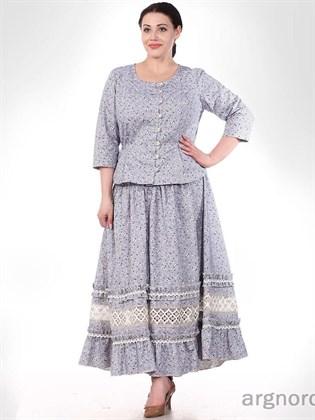 Длинная льняная юбка с кружевом