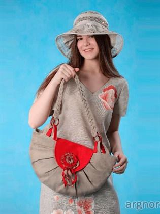 """Льняная сумка """"Розалия"""" с красным клапаном"""