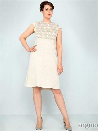 Платье льняное с кружевом
