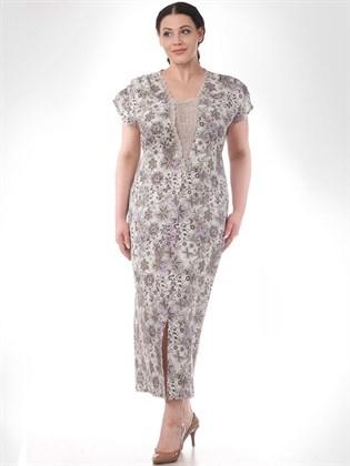 Летнее платье из льна с кружевом