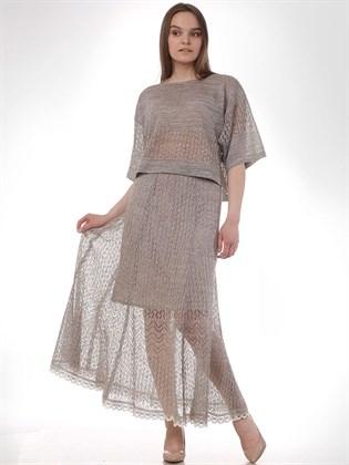 Ажурная юбка с трикотажной подкладкой