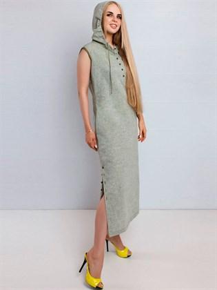 Льняное платье с капюшоном