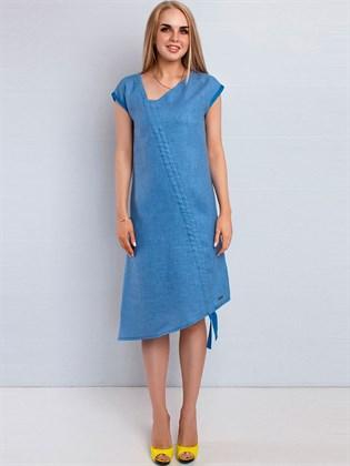 Платье льняное с затяжником