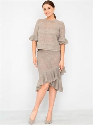 Льняная трикотажная юбка