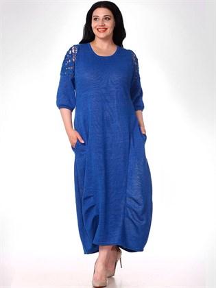 Длинное платье из льняного трикотажа
