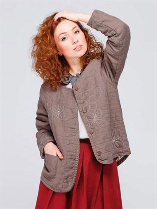 Женская льняная куртка-фуфайка