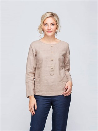 Льняная блуза с длинным рукавом