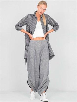 Широкие женские брюки из льна