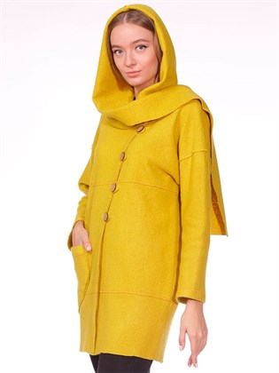 Пальто из вареной шерсти с отдельным капюшоном
