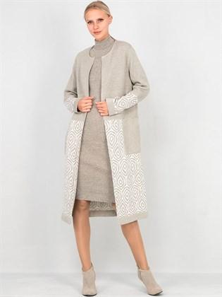Трикотажное льняное пальто
