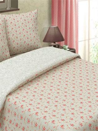 Постельное белье из льна 1,5 спальный - Букет красный/Белый узор