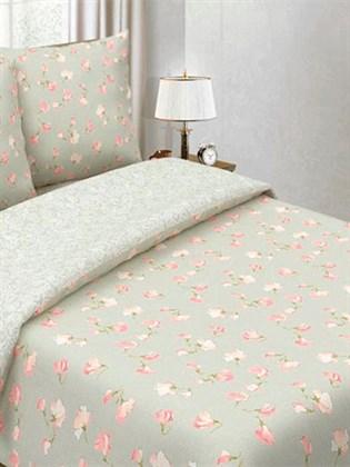 """Комплект постельного белья комбинированный """"Цветущий горошек Розовый/Белый узор"""" - семейный"""