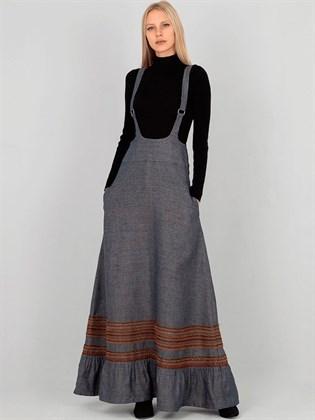 Длинная женская юбка с лямками