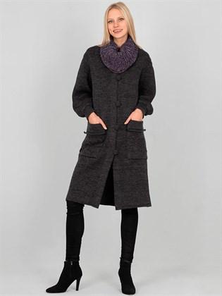 Пальто вязаное из полушерсти и льна