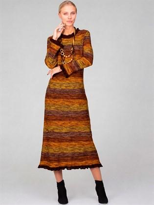 Платье длинное из льна и полушерсти