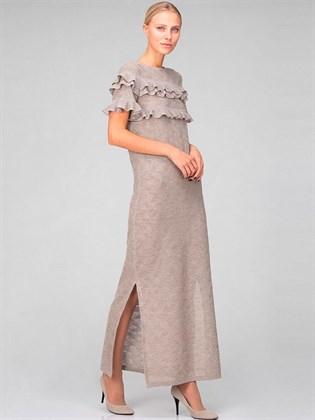 Длинное трикотажное платье с разрезами
