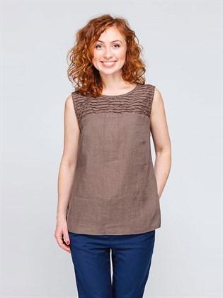 Блуза льняная без рукавов