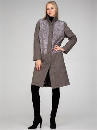Утепленное женское пальто (лен, трикотаж)