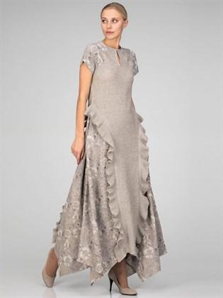Платье из льняной ткани и трикотажа