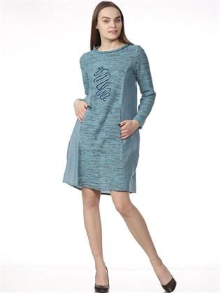 Платье-туника  из ткани и трикотажа