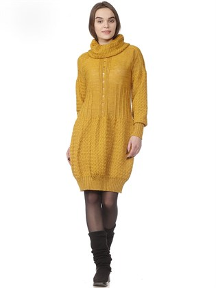 Платье вязаное из льна и полушерсти