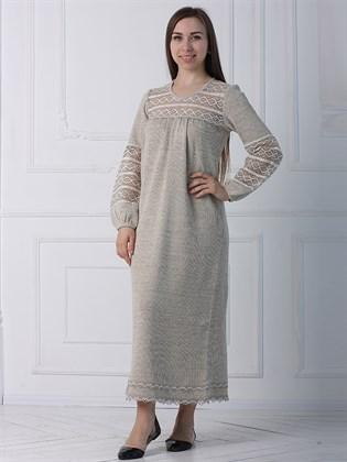 Платье из льна с кружевом