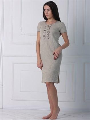 Платье прямое с коротким рукавом