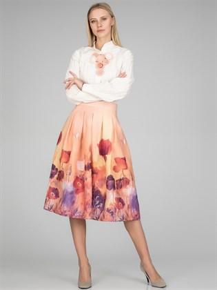 Юбка льняная с цветочным принтом