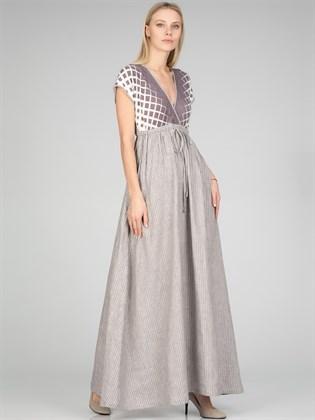 Платье длинное из льна и трикотажа
